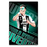 """Amugo Paulo Dybala-cQ63 Canvas Art Poster and Wall Art Picture Print Modern Family Bedroom Decor Posters-Framed,12""""×18""""(30X45cm)"""