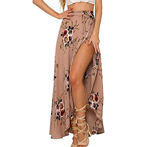 Tweed Suit Brown Skirt (ShenPr Women's Boho Floral Tie up Waist Summer Beach Wrap Cover up Split Front Maxi Skirt (XL, Khaki))