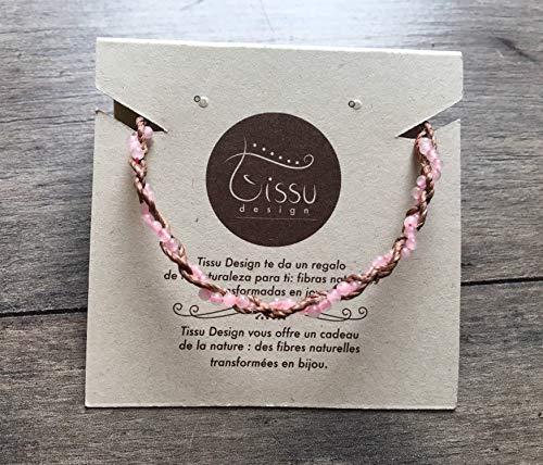 Pulsera hecha a mano con piedras de cuarzo rosado, Pulsera trenzada en fibras naturales color café con plata 925