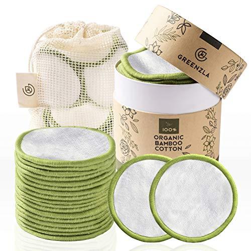 Greenzla Herbruikbare make-up verwijderingspads (pakje van 20) met wasbarewaszak en rondedoosvoor het opbergen | 100…