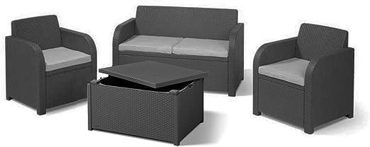 Juego de muebles de jardín Allibert Carolina, mesa de almacenamiento, 4 asientos, color gris: Amazon.es: Jardín