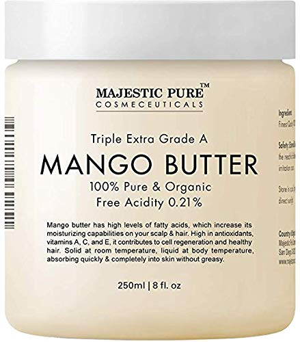 Majestic Pure Raw Mango Butter, 8 oz - Organic Premium Grade for Soft Supple Skin and Healthy Hair ...