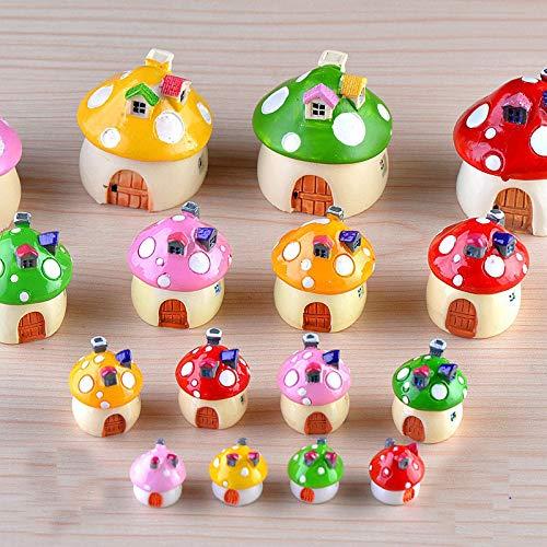 Dorime 4PCS Resin Mini Mushroom House Miniature Garden Accessories Colorful Micro Landscape Fairy Garden Miniatures Craft