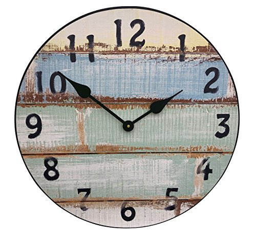 Plank Wall Base (J. Thomas Beach Wall Clock - with Silent Sweep Mechanism, Thicker 1/2 Wood Base, Quality American Made Product. Weathered Plank Design. Perfect for a Beach Lover or a Beach House. (Diameter - 24