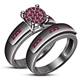 TVS-JEWELS Black Rhodium Plated Pink Sapphire Gemstone Wedding Anniversary Bridal Ring Set (8.25)