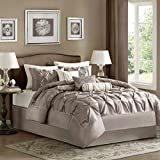 Cal King Bed Measurements Madison Park Laurel Cal King Size Bed Comforter Set Bed in A Bag - Taupe, Wrinkle Tufted Pleated – 7 Pieces Bedding Sets – Faux Silk Bedroom Comforters