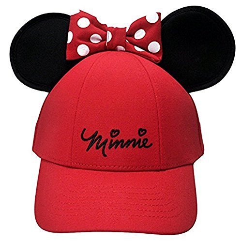 Minnie Ear Hat - Disney Womens Minnie Mouse Cap With Bow & Ears Red
