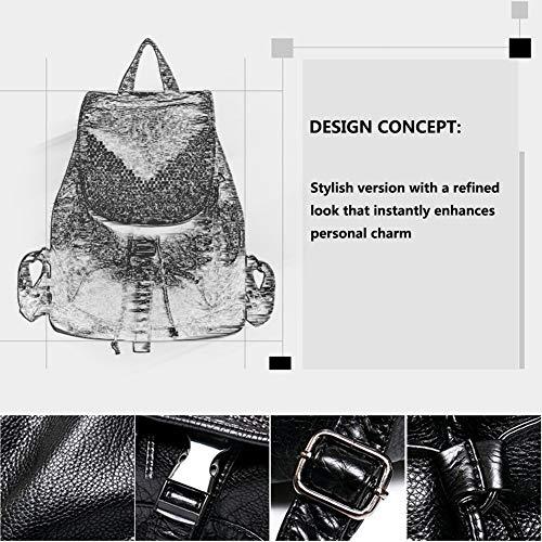 Rivetti Grande Design Metallo Di In Donna Con Da Pu Nero Capacità Moda Flip Pelle Apertura Zaino Syord 8xTw67g