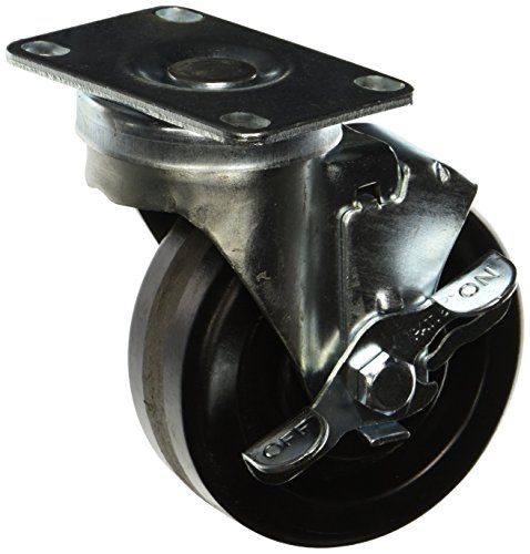 Jarvis-4-30-121-BRK-PLT2-Swivel-Plate-Caster-with-Brake-300-Lbs-Capacity-Phenolic-Bright-Zinc-Plating