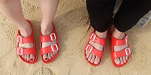 Open Slides Adjustable UB Toe Womens Lightweight Buckle Red Sandal Double DEVO 6qBTqY