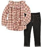 Calvin Klein Toddler Girls' 2 Pieces Tunic Jegging Set, Plaid Pink, 3T