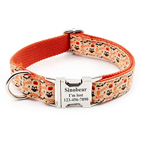 Personalized Dog Collar, Classic Custom Engraved Collar with Customized Text (Size XS S M L XL) (Hallowen) -