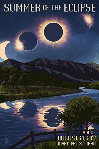 Idaho Falls, Idaho - Solar Eclipse 2017 - Summer of the Eclipse (12x18 Art Print, Wall Decor Travel Poster) by Lantern Press