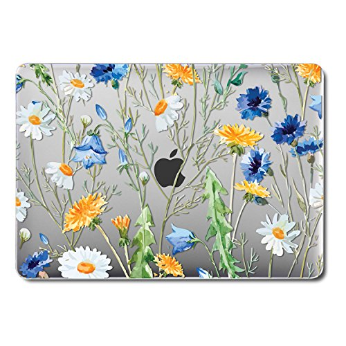 GMYLE MacBook Pro 13 Inch Case 2018 with Touch Bar, Soft-Touch Smooth Snap On Plastic Hard Clear Cover for Apple Mac Pro 13 A1989 A1706 A1708 2016 2017 Release - Crystal Floral
