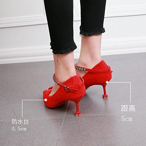 KPHY-Herbst Aus Dünnen Ferse Ferse Schuhe Scharfe Schnalle Wasser Wasser Schnalle Bohren Katze Schuhe Die Ferse Pendeln Flachen Mund Elegante Schuhe 35 Des - 30f470