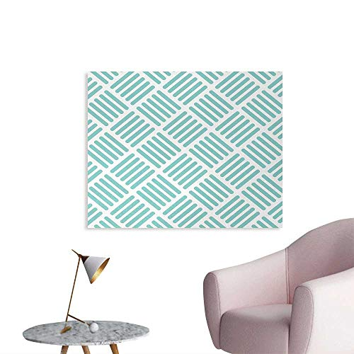 Tudouhoho Aqua Poster Paper Diagonal Parallel Lines in Different Directions Retro Modern Style Geometrical Art Decor Decals Stickers Mint Green White W36 xL24