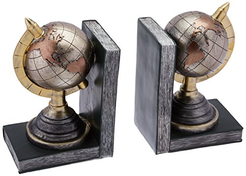 Metallic Finish Terrestrial Globe Bookends Set of 2