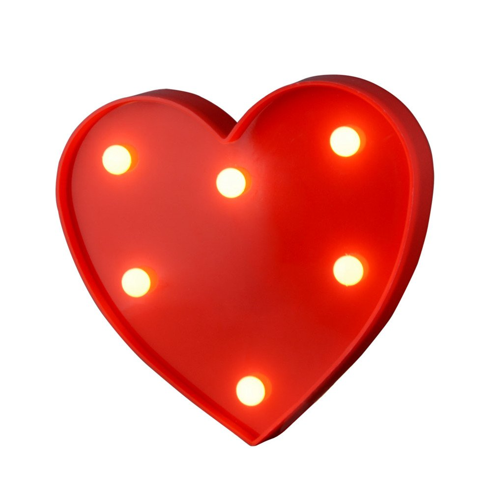 Takefuns Led Letters Lights Alphabet Marquee Decoration Light up Sign Battery Operated for Party Wedding Receptions Holiday Home & Bath Bridal Bar Décor Love Heart Shape