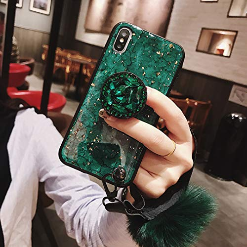 (Tianyuanxuan iPhone Xr Case,iPhone xR Case,Fashion Blu-ray Leopard Diamond Holder Cover with Rabbit Fur Hairball Phone Case for iPhone XR/xr 6.1-inch)