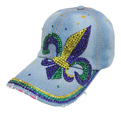 Mardi Gras Baseball (Multi Colored Stone Fleur De Lis Mardi Gras Denim Baseball Cap)