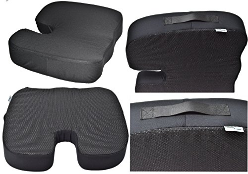 Flash Sale! 4 Inches Thick Coccyx Orthopedic Pressure Relieving Memory Foam Seat Chair Car Cushion Non Skid Slip, Black Large Thick Firm 18x16x4