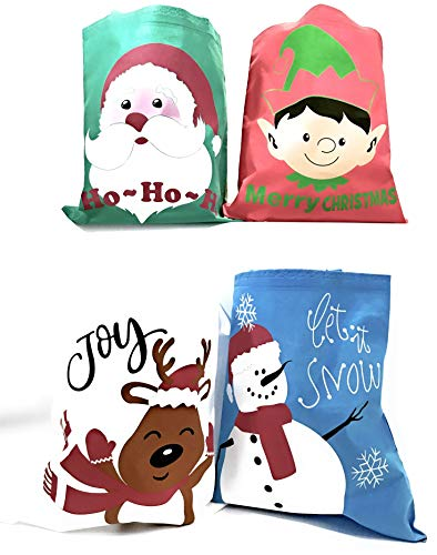(Bulk 24 Christmas Reusable Non-Woven Tote Gift or Shopping Bag Assortment - Large with long loop)