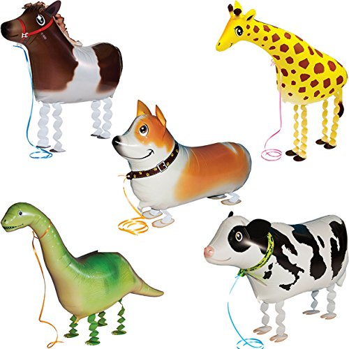 5pcs Walking Pet Animal Balloons Kids toys Party Favors Gifts for Girls Air Walker group--F (Baby Pkg Girl)