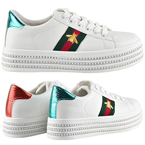 Fashion Thirsty Womens White Flat Stripe Sneakers Trainers Casual Gym Shoes Size (8 US, White Faux Leather/Green Red Stripe/Bee)