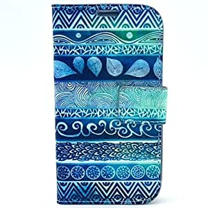 YULIN Blue Fingerprint Flowers Pattern PU Leather with Case and Card Slot for Samsung S4 I9500