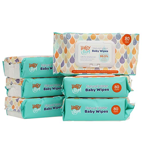 HappyBum Unscented Sensitive Baby Wipes, 99.5% Purified Water, Natural Care Face, Hand and Body, Baby Wipes with Flip Top Dispenser, 6 Refill Packs, 480 Count Total. -