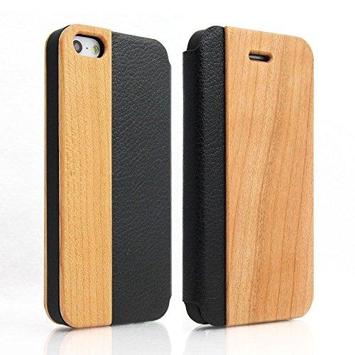 磁石独特の可聴【LooCo】木製 ウッド 手帳型 本革 レザー カード収納 ケース カバー (iPhone5/5S, 桜)