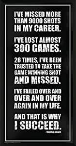 Michael Jordan Success Inspirational Motivational Sports Basketball Icon Quote Poster Print,