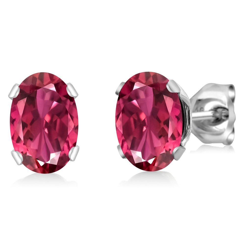 Gem Stone King 1.40 Ct 7x5mm Oval Shape Pink Tourmaline Sterling Silver Stud Earrings
