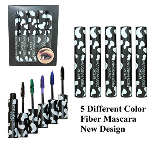 5 Color Set of Length Volume Fiber Mascara Doll Eye Style (Black, Blue, Green, Purple, Brown)