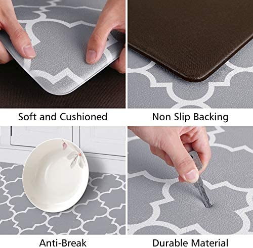 51ZqdZTE%2BcL. AC KMAT Kitchen Mat [2 PCS] Cushioned Anti-Fatigue Kitchen Rug, Waterproof Non-Slip Kitchen Mats and Rugs Heavy Duty PVC Ergonomic Comfort Foam Rug for Kitchen, Floor Home, Office, Sink, Laundry    Product Description