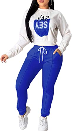 Women 2 Piece Outfits Jogging Suit Set Casual Long Sleeve Sweatshirt Tracksuit Plus Size At Amazon Women S Clothing Store