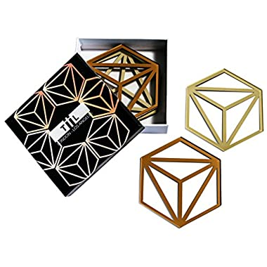 Hexa Drink Coasters / Trivet By TiiL. Set of 6 Plus Gift Box (Copper and Ash)