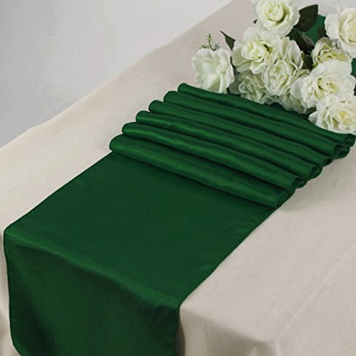 mds Pack Of 10 Wedding 12 x 108 inch Satin Table Runner For Wedding Banquet Decoration- Hunter green (Hunter Green Satin)
