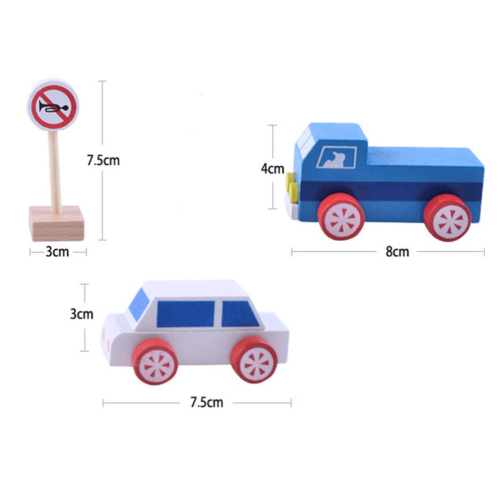 Early Education Gift for Children and Kids Boys and Girls wiFndTu Premium Fun Wooden Street Road Traffic Signs Car Blocks Pretend Play Educational Toy Developmental Toy