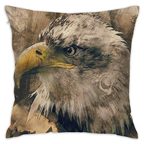 Bald Eagle Art Painting Decorative Throw Pillow Cover Square Cushion Case for Home Sofa Bedroom Car Chair House Party Indoor Outdoor 18 X 18 Inch 45 X 45 cm