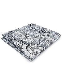 Shlax&Wing Paisley Grey Silver Handkerchieves Mens Neckties Hanky Pocket Square