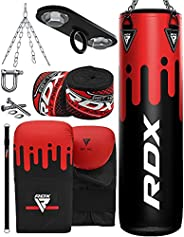 RDX Punching Bag Filled 4ft 5ft MMA Boxing 8pc Set Kickboxing Heavy Muay Thai Training Gloves Punch Mitts Hang