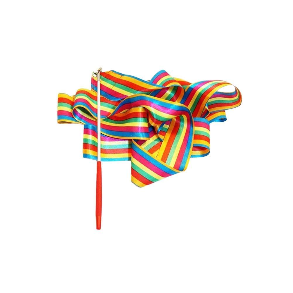 Toyvian 3pcs 4M Rhythmic Art Gymnastics Ribbon con Stick Children Bailando serpentinas Riband Twirling Rod
