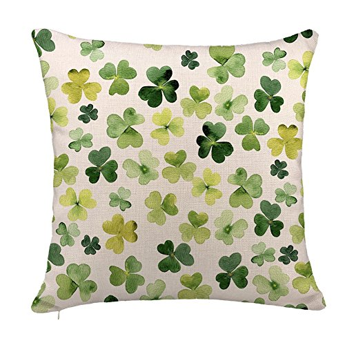 St. Patrick's Day Green Clover Pattern Throw Pillow Case Cushion Cover Cotton Linen 18 x 18 Inch