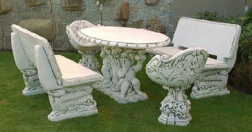 Sitzgruppe (S351+S352+S353) Gartendeko Gartenmöbel Garnituren Steinguss 1086 kg