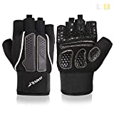 Trideer Padded Weight Lifting Gloves, Gym Gloves, Workout Gloves, Rowing Gloves, Exercise Gloves for Powerlifting, Fitness, Cross Training for Men & Women (A# Sliver Basic, XL (Fits 8.6-9.25 Inches))