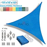 Patio Paradise 10' x 10' x 10' Sun Shade Sail with 6 inch Hardware Kit, Blue Equilateral Triangle Canopy Durable Shade Fabric Outdoor UV Shelter - 3 Year Warranty - Custom Size Available