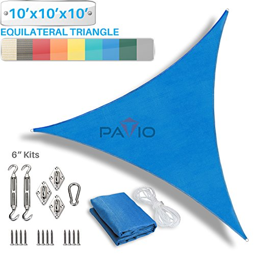 Patio Paradise 10' x 10' x 10' Sun Shade Sail with 6 inch Hardware Kit, Blue Equilateral Triangle Canopy Durable Shade Fabric Outdoor UV Shelter - 3 Year Warranty - Custom Size Available by Patio Paradise