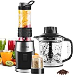 High-Speed Smoothie Blender/Food Processor, Fochea Multi-Function Kitchen System (Mixer, Chopper, Grinder) with Portable 570ml BPA-Free Bottle, Easy to Clean