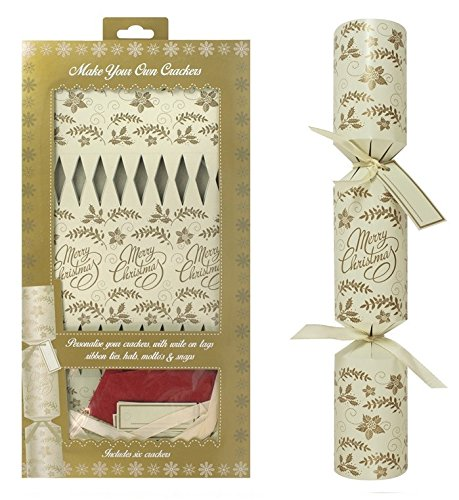 Pack of 6 make your own personalised traditional christmas cracker pack of 6 make your own personalised traditional christmas cracker cream gold solutioingenieria Choice Image
